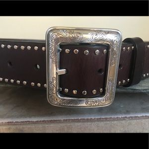 Brighton beautiful silver buckled leather belt L